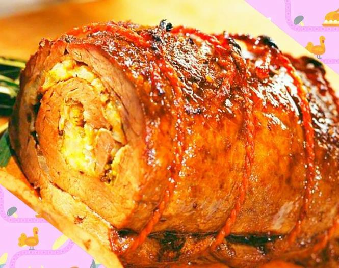 Рулет из свинины с сыром запеченный в духовке