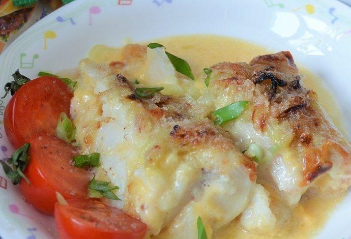 Морской язык, фаршированный креветками и сыром
