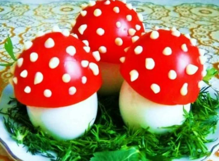 Фаршированные яйца «Мухомор» для детей