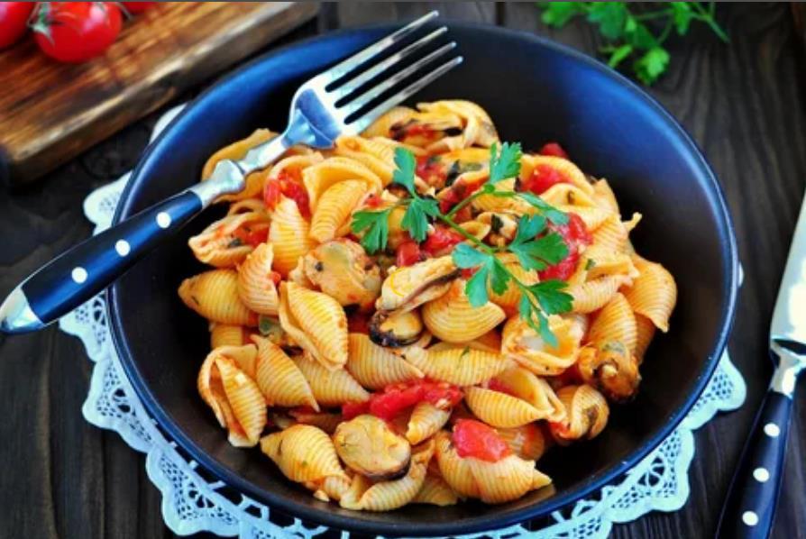 Ракушки с болгарским перцем